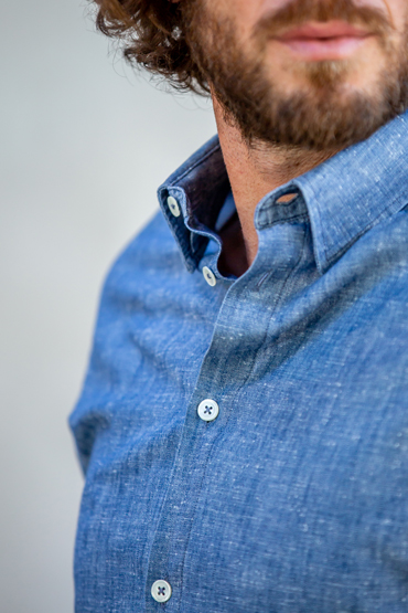 col button-down chemise chambray Kuwamura