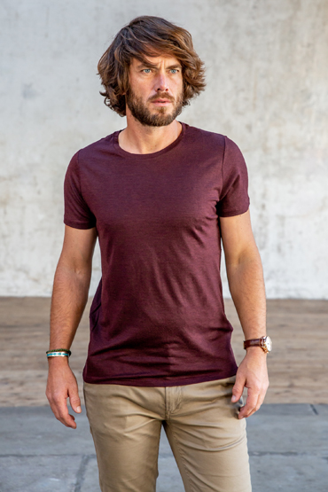 tee-shirt merinos bordeaux