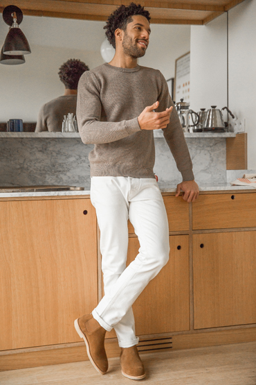 look pull taupe jean blanc