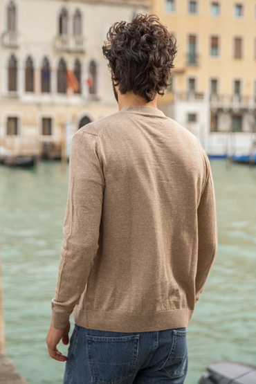 cardigan camel coupe dos