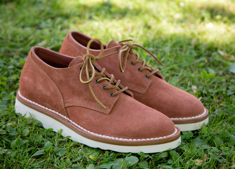 derbies cuir gras suede couleur terracotta bonngueule