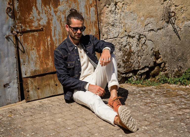 look veste en jean henley derbies bonnegueule